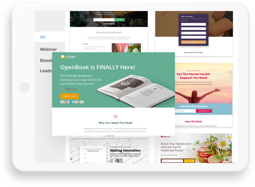 landing page with landing page building blocks off to the left
