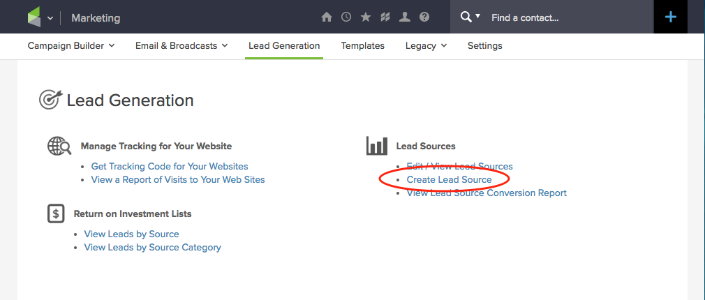 set up assign lead source infusionsoft