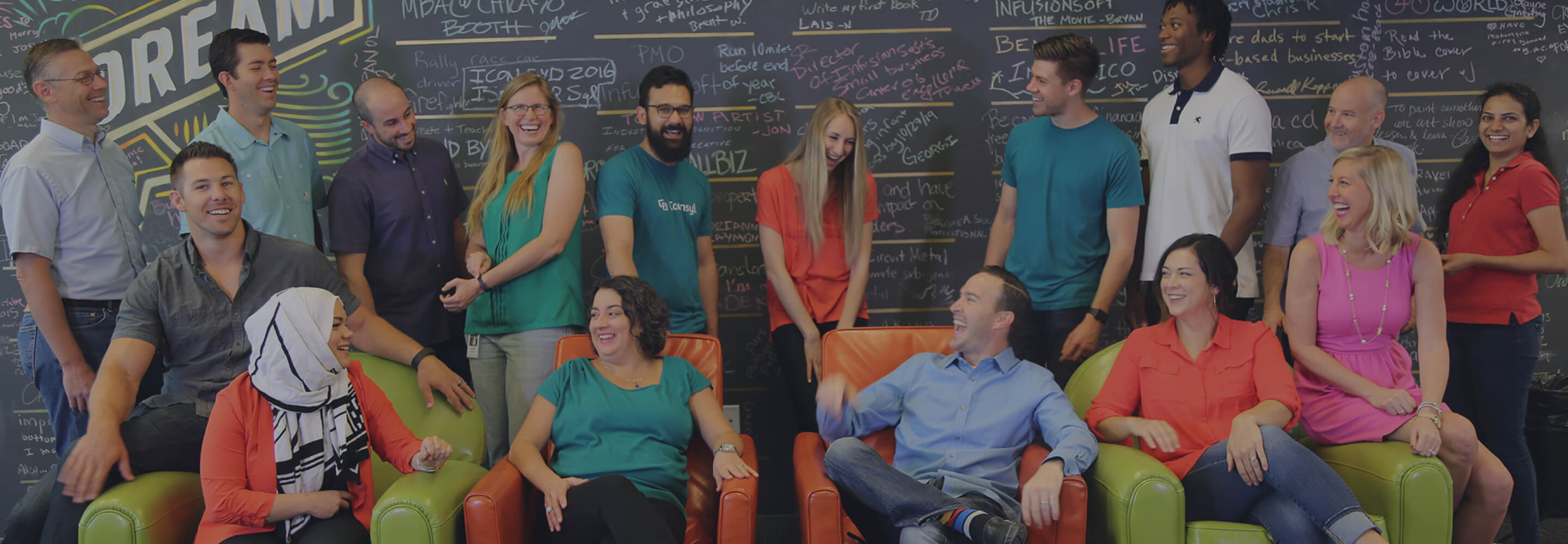 Infusionsoft Employees in front of the Dream Wall