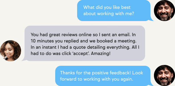 Text message conversation about customer feedback