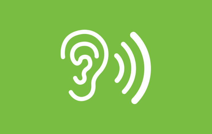 ear listening illustration on green background
