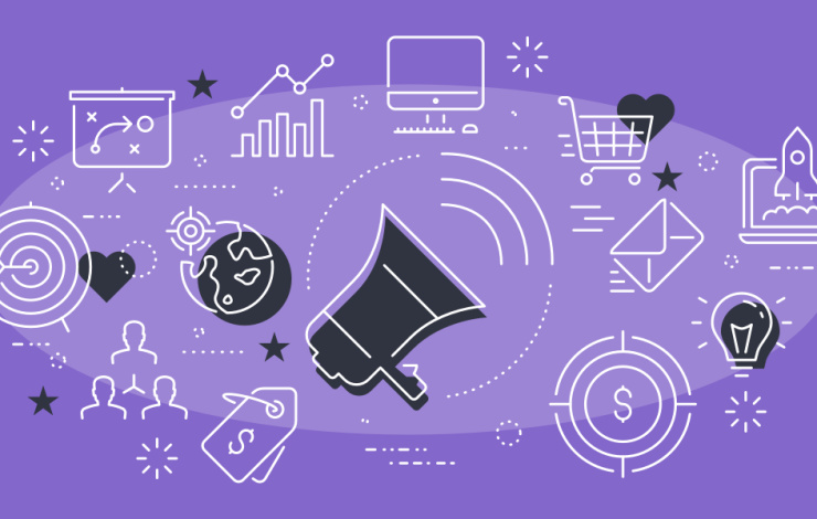marketing illustration on purple background