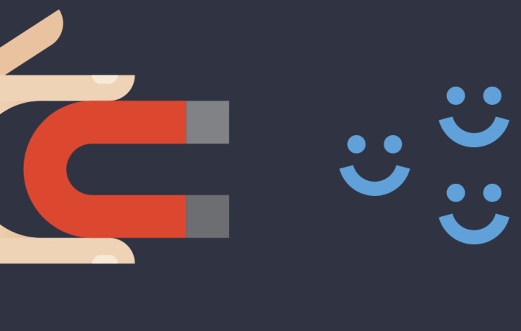 An illustration of a hand holding a magnet and attracting smiley faces.