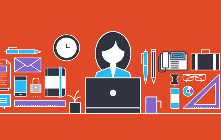 illustration of a person at a computer with office supplies all around