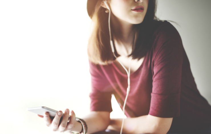Woman Listening Music Media Entertainment Podcast Relaxation Concept