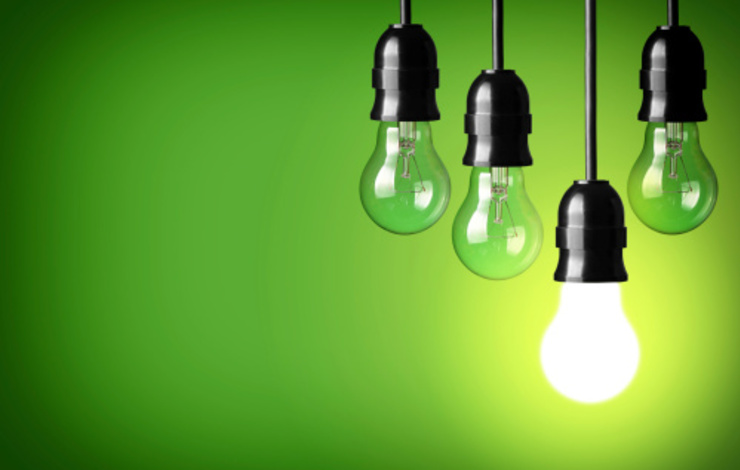 lightbulbs on green background