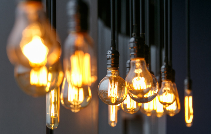 Lightbulbs hanging from ceiling