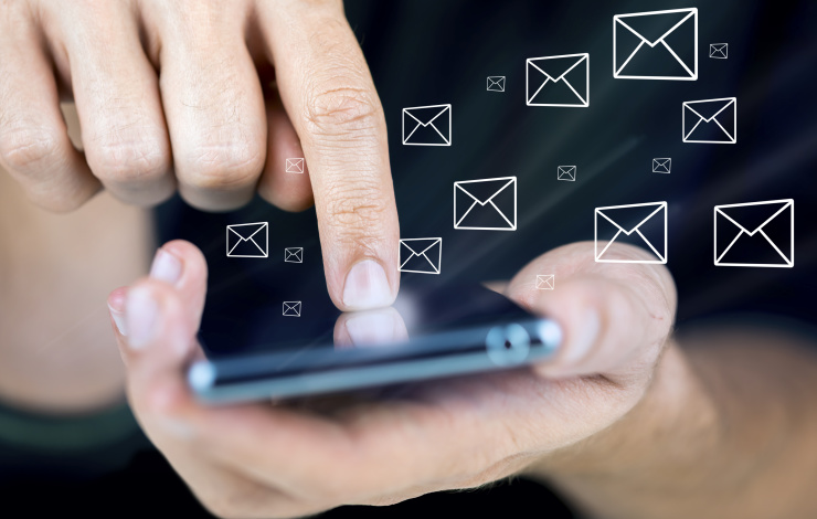 checking email on a mobile phone