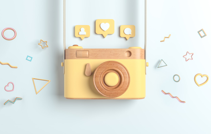 Camera with Instagram icons