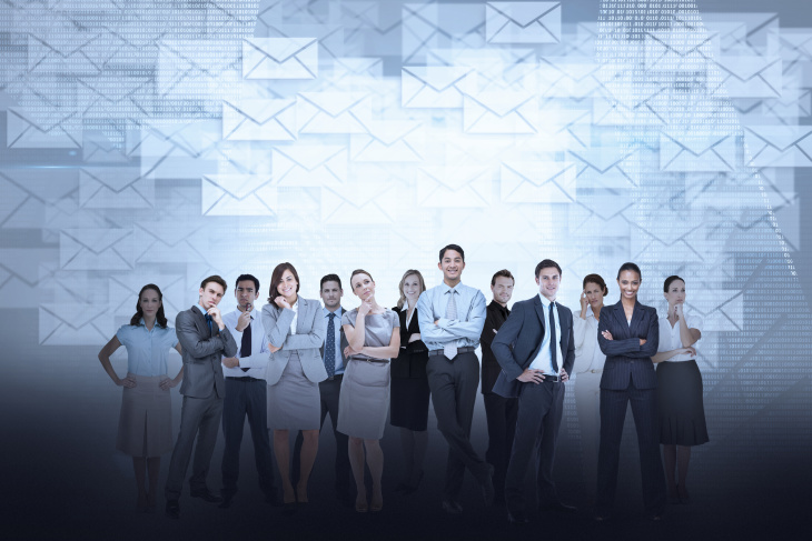 business people ready for their LinkedI contact information to be added to email.