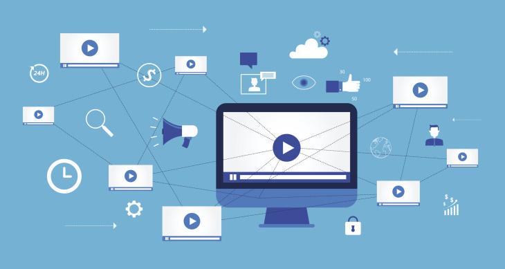 social media video illustration on blue background