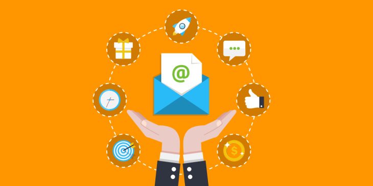email marketing illustration with orange background