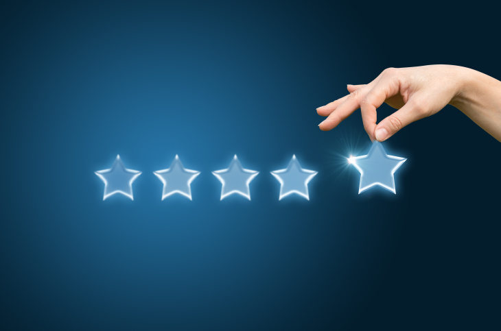 Customer review give a five star, illustration, background, image, banner, poster, symbol,  photo, picture
