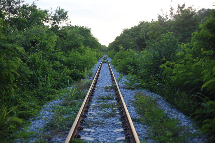 railway goes to horizon in green landscape