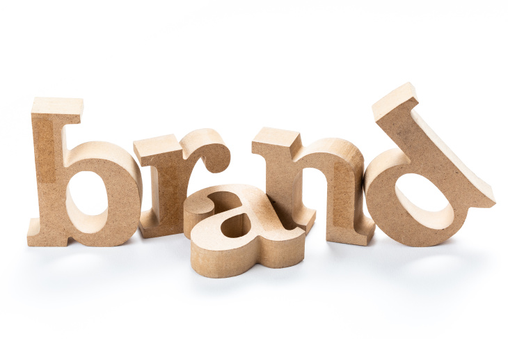 Box letters spelling out brand