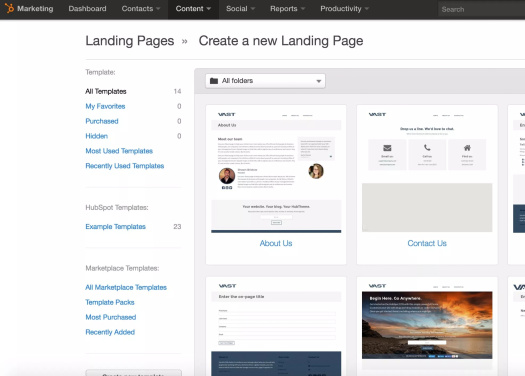 Picture of Hubspot landing page templates