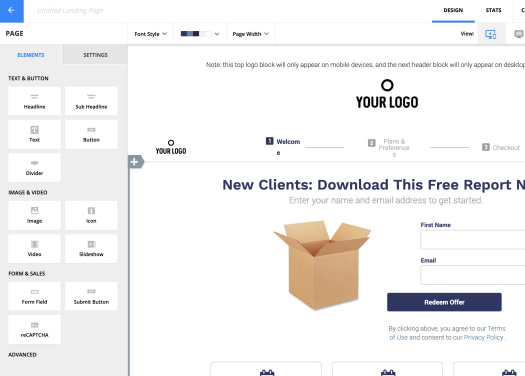 Picture of landing pages with Ontraport