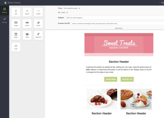 Screenshot of Infusionsoft's email template editor