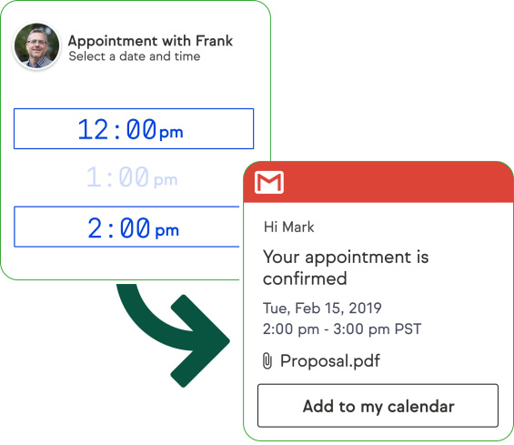 Screenshot of the software, showing how an appointment email is sent automatically
