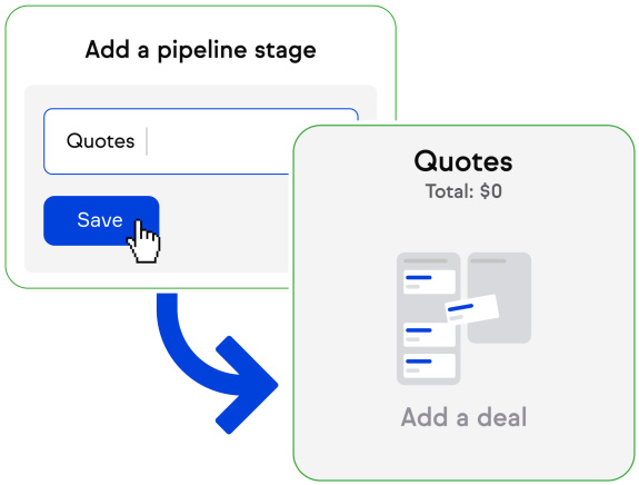 Illustration of creating a new sales pipeline stage