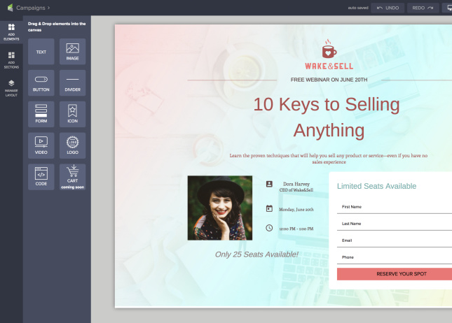Picture of Keap's landing page builder