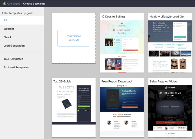 Picture of Keap's landing page templates