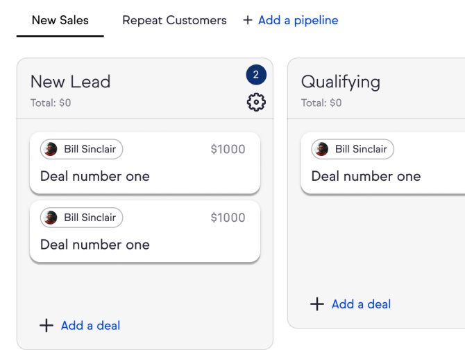 Screenshot of the Keap Pro sales pipeline dashboard