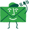 Icon depicting an email message with a smile