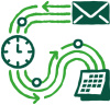 Icon depicting automation flow of emails and appointments.