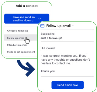 Screenshot of the software, showing how you can automatically add contacts to follow-up campaigns