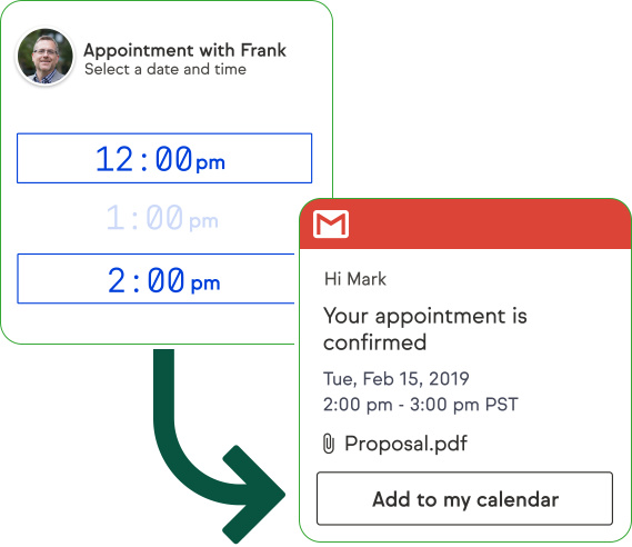 Clients can easily scroll through available appointment times and pick one.