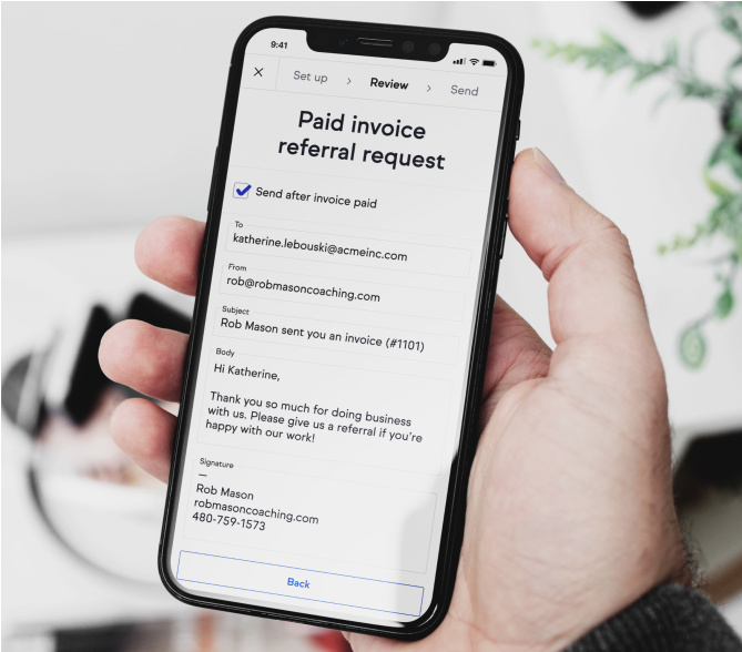 Screenshot of the app on a phone queuing up a referral request after the invoice is paid