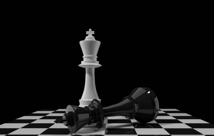 white chess king figure with black chess king on chessboard in 3D rendering