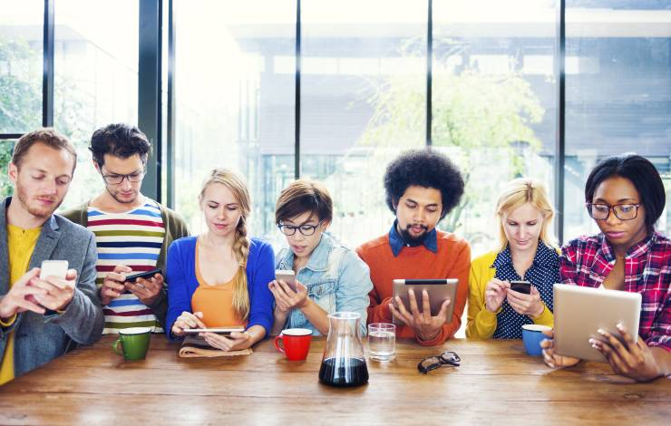 group of young adults on social media