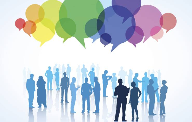 illustration of people with colorful speech bubbles