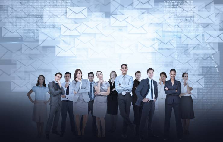 business people with email icons