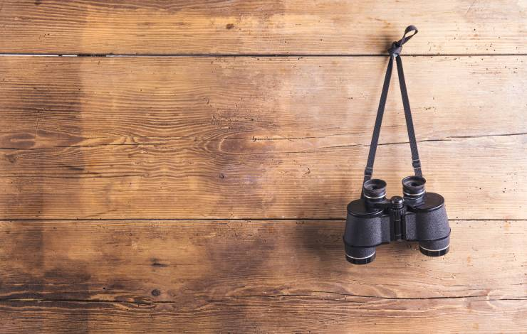 binoculars hanging on a wood wall