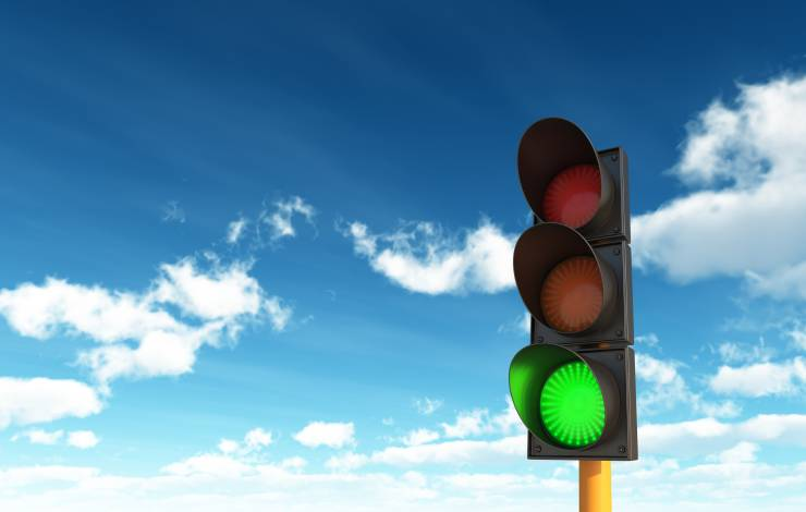 traffic light with green light lit up