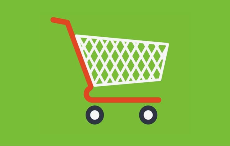 Simple shopping cart illustration on green background
