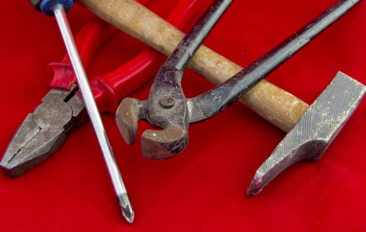 tools on a red background
