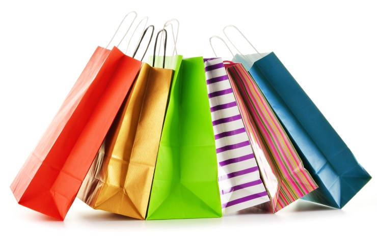 shopping bags on white background