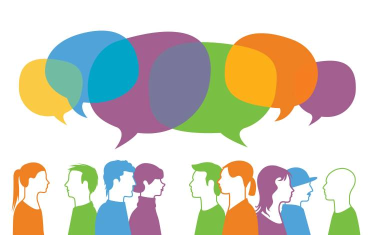 illustration of people talking with speech bubbles