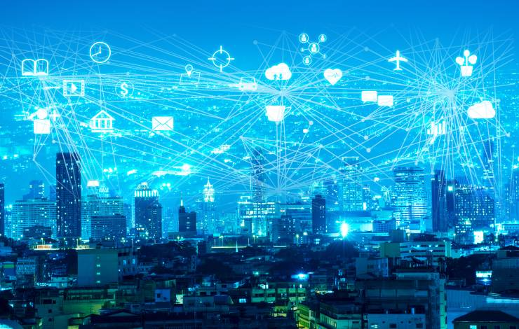 night modern city with internet of things (IOTs) on the sky