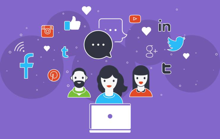 social media illustration on purple background