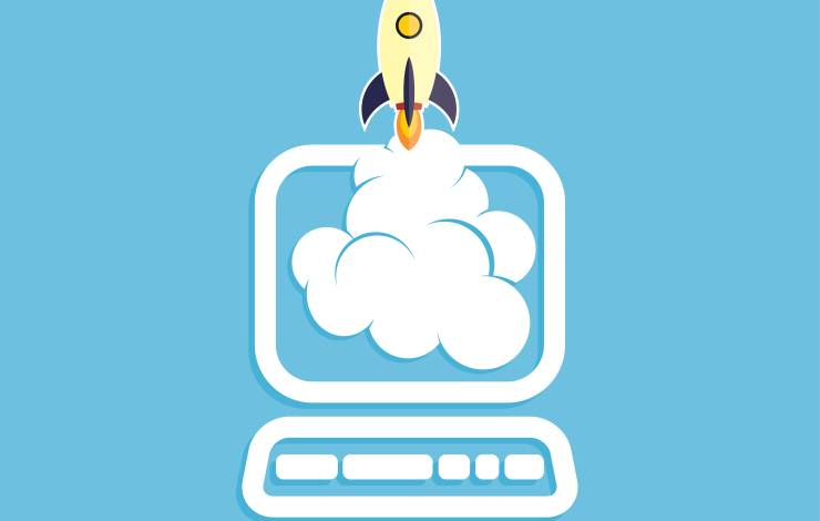 start up program rocket computer boot program vector illustration