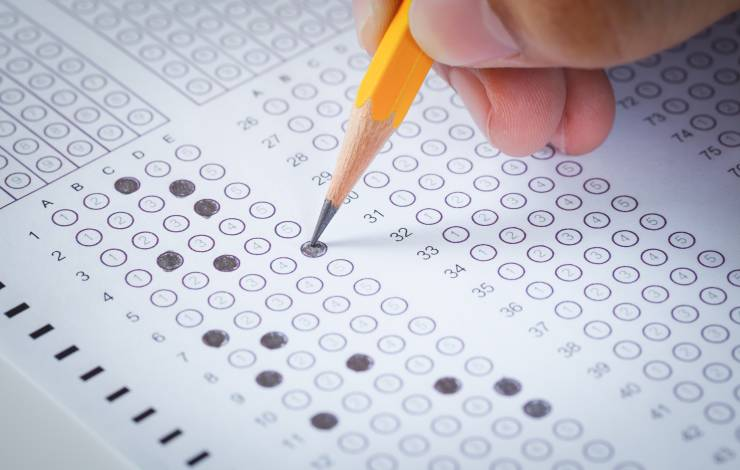 Taking a quiz with a scantron