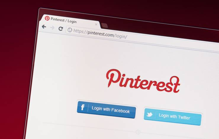 pinterest logo on computer screen