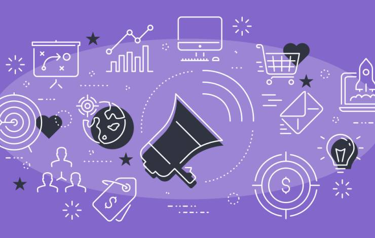 illustration of megaphone surrounded by icons of marketing and PR