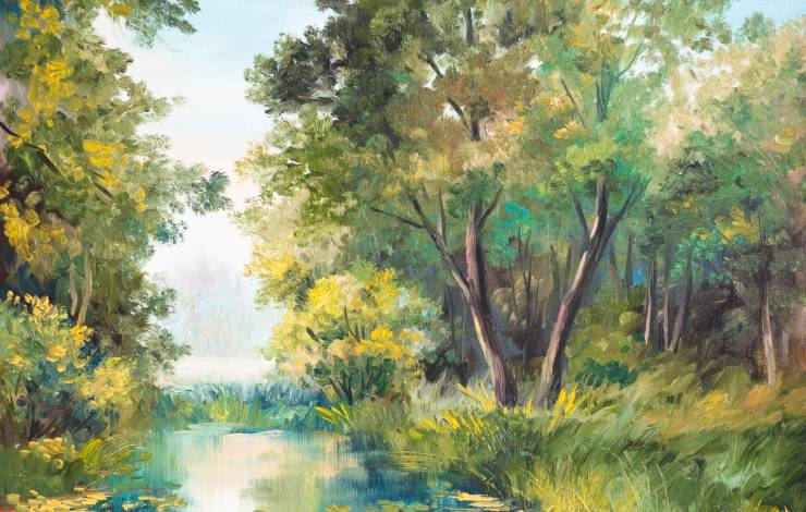 tree and river oil painting