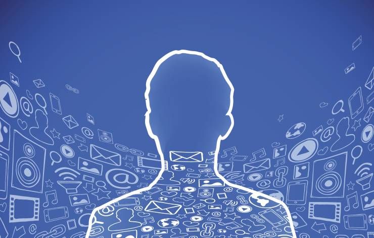 facebook head outline with social media icons